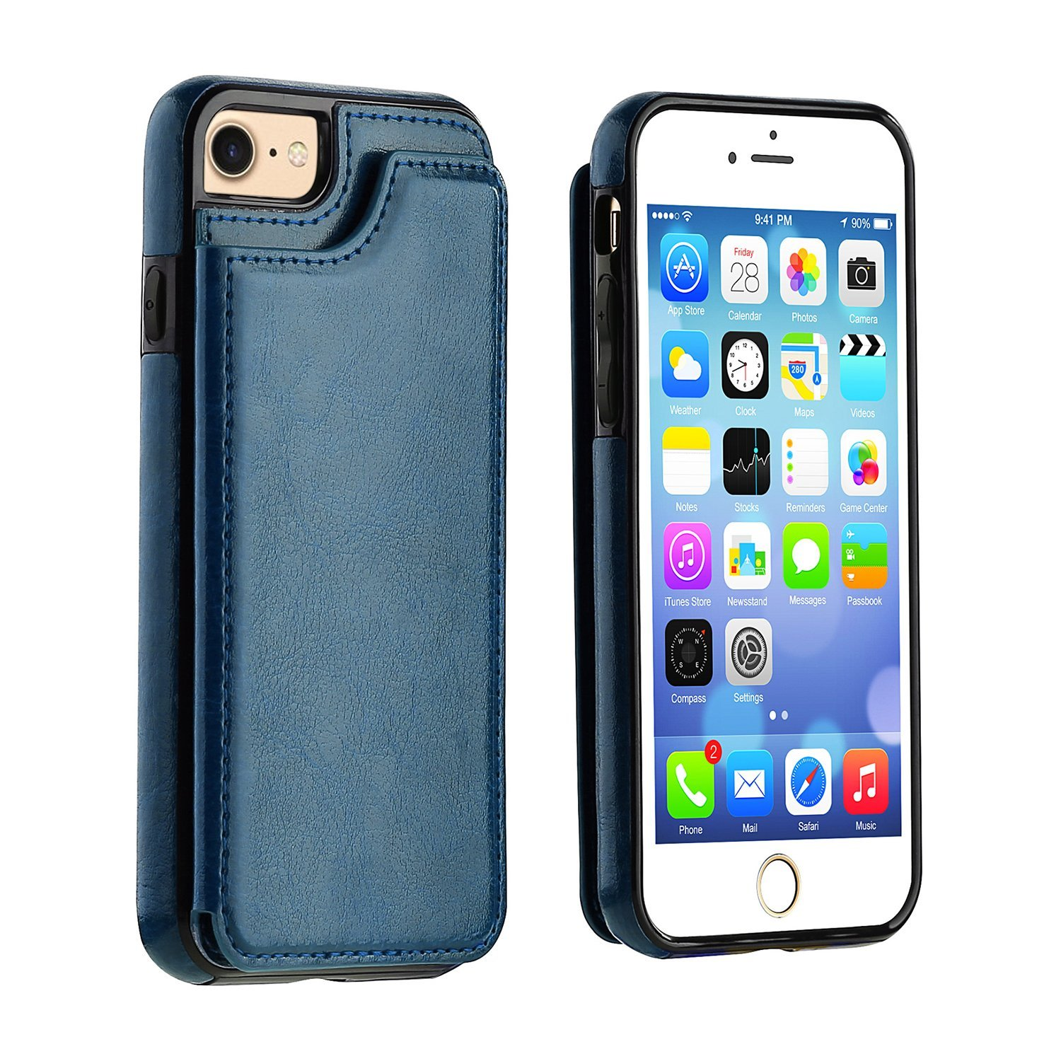 Wallet Case with Card Holder Kickstand Card Slots Double Magnetic Clasp and Durable Shockproof Case For iPhone 8/7 4.7 inch