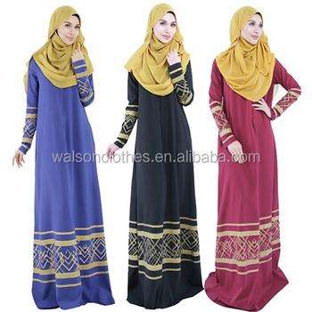 e04c8f4a7f7 women clothing Women Vintage Malaysian Abaya Islamic Kaftan Muslim Cocktail  Long Sleeve Dress