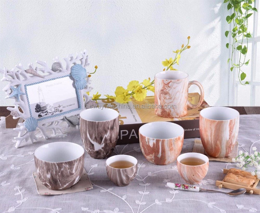 Best drinking ware Eco-friendly cheap porcelain mug tea coffee marble cup