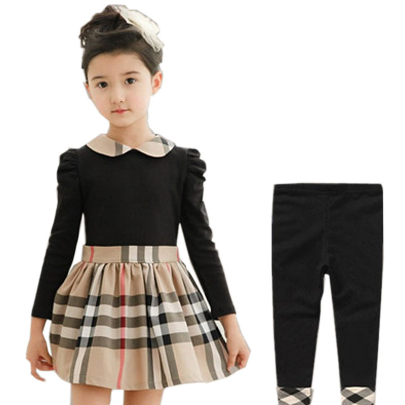 2016 new children clothing set high quality girls clothing cotton kids clothes fashion girl dress + pants summer autumn 2pc suit