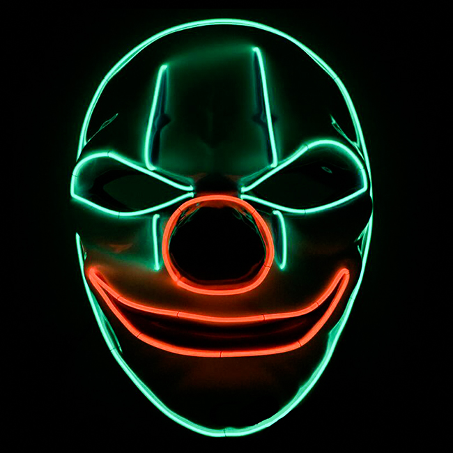 Halloween Party Supply Plastic Led Rave Halloween Clown Masker