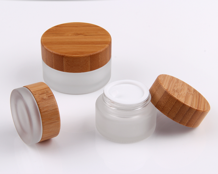 30g 50g 100g frosted glass cosmetic jar with bamboo lid for facial cream