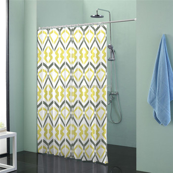 Hot Colorful Stripe Design Polyester Fabric Shower Curtain With Matching Window For Bathroom