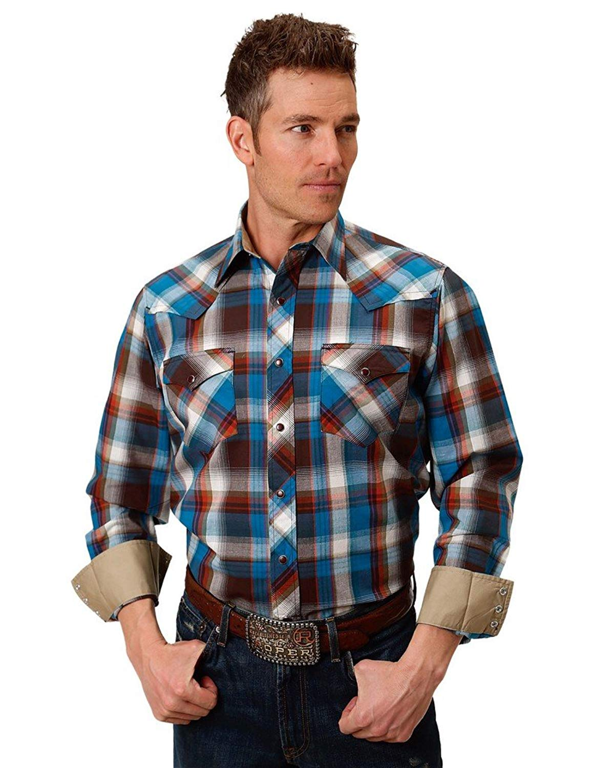 92bcb8d1 Get Quotations · Roper Western Shirt Mens Plaid L/S Snap Brown 03-001-0062-