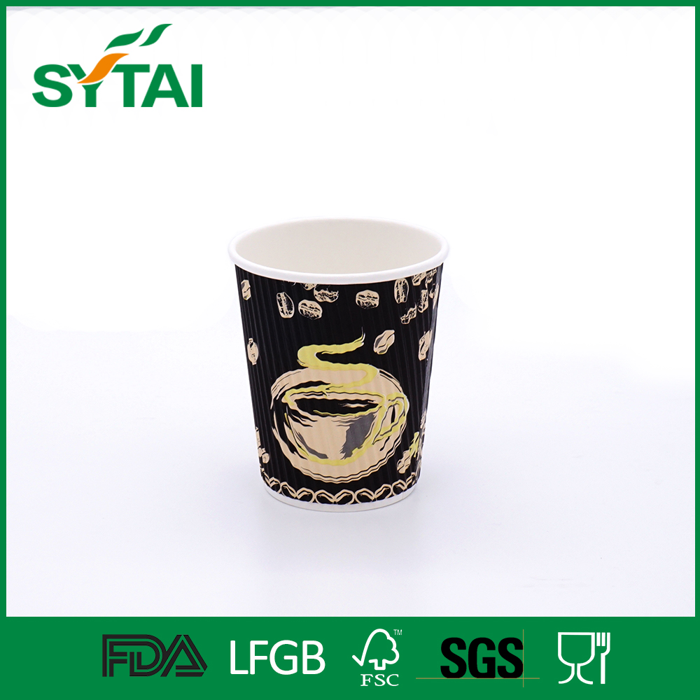 12oz Wholesale eco-friendly good printing ripple wall paper cup for tea/coffee packing