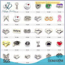 2015 hot selling zinc alloy floating charms twist/magnetic glass floating locket charm