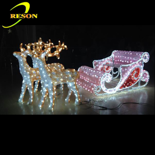 Christmas 3D Motif Light Christmas Ornaments Reindeer & Sleigh with Led Lights