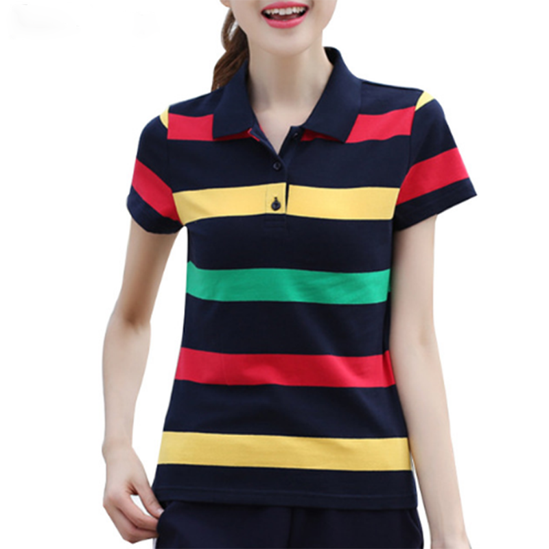 Summer Women Polo Shirts Cotton Stripe Hit Color Short sleeve Tops Slim Breathable Tee Shirt