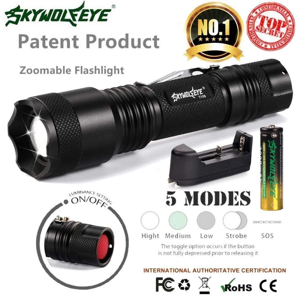7a4f555f76e Get Quotations · OSAYES Sky Wolf Eye CREE LED XM-L T6 Flashlight Torch  Zoomable 5-Mode