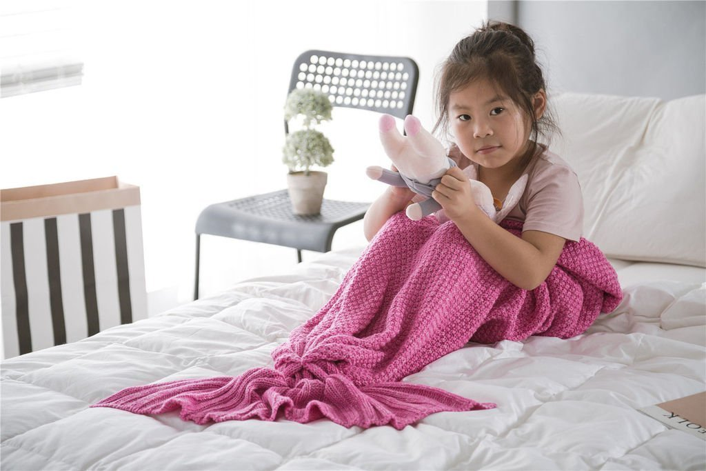 Adults Teens and Kids Knitted Crocheted Mermaid Tail Blanket Pink