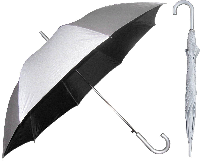 Silver Sunblock Umbrella with Black Lining - UV Protection Umbrella for Rain or Sun