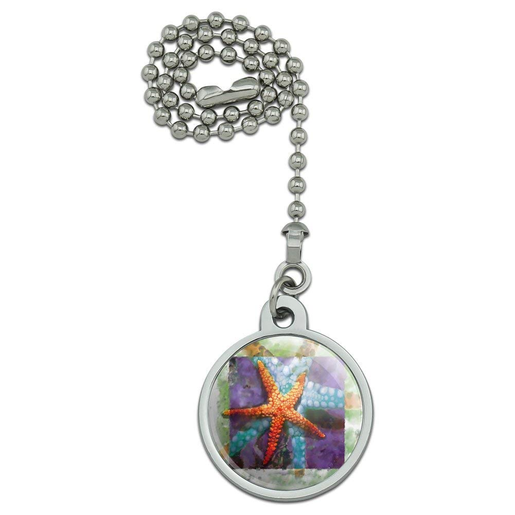 Graphics and More Starfish Watercolor Tropical Ocean Beach Ceiling Fan and Light Pull Chain