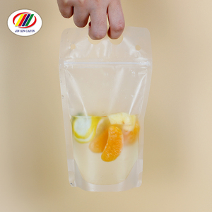 Hot selling custom logo print resealable doypack transparent beverage liquid packaging plastic drink pouches with straw
