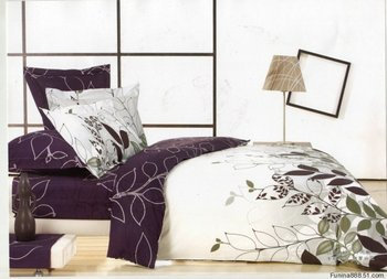 Purple White Leaf Design Queen Bed Quilt Duet Cover Sets 4pc - Buy ... : purple and white quilt - Adamdwight.com