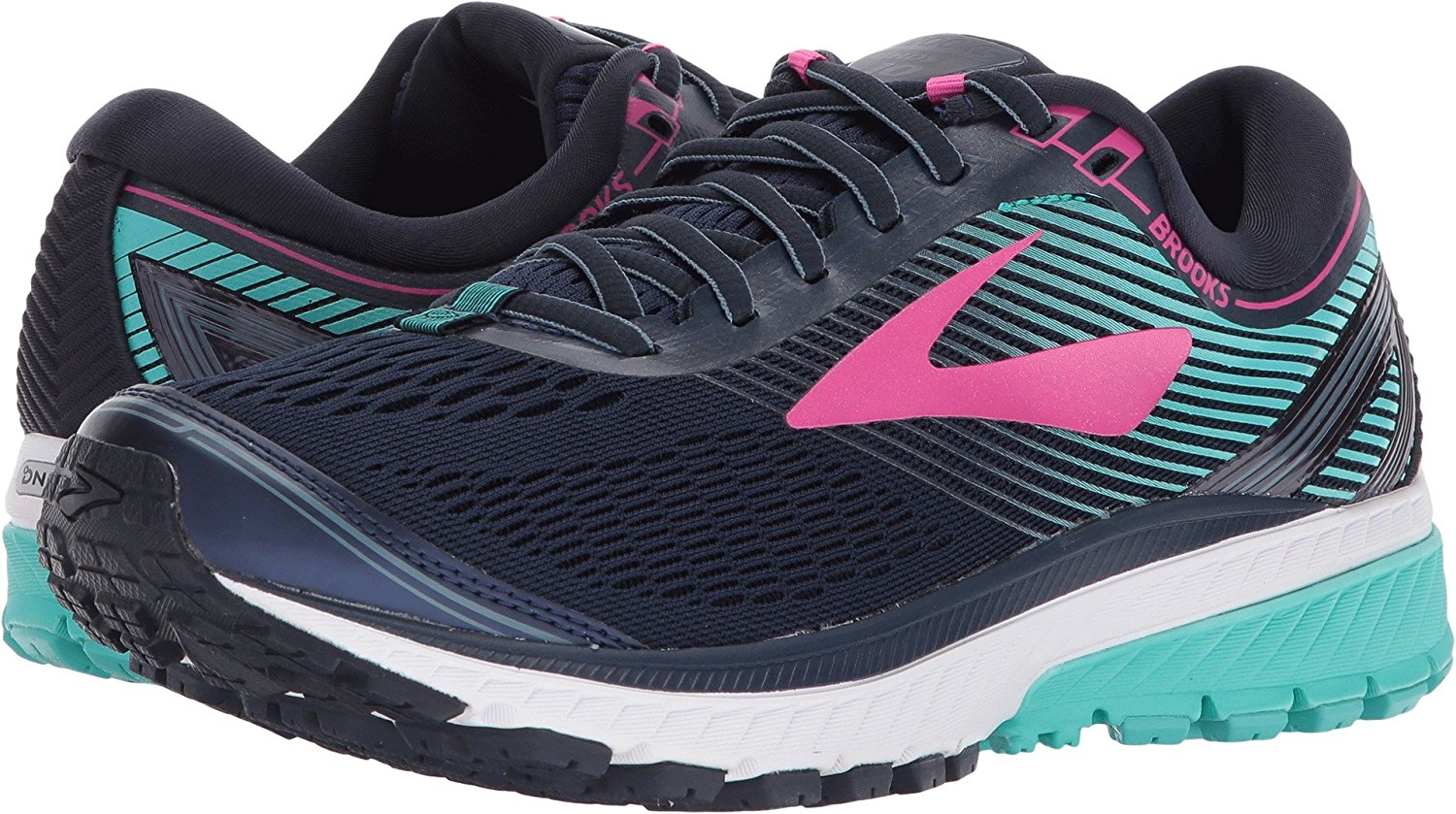 2c039205be7 Get Quotations · Brooks Women s Ghost 10 Navy Pink Teal Green 5 ...