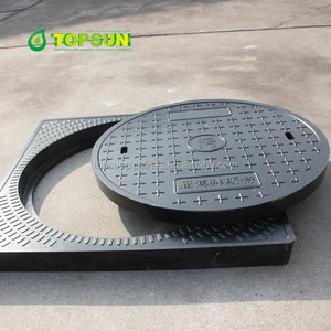 Ductile cast iron heavy duty square frame round cover manhole cover