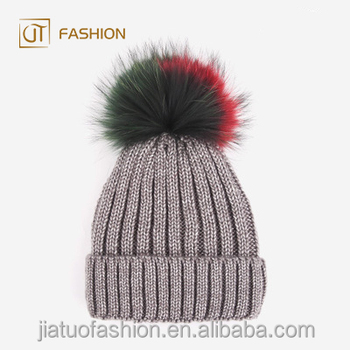 8790b4e2f Factory wholesale jtfur colorful raccoon fur knitted warm outdoor children  pom pom hats, View pom pom hats, WYNN&ME Product Details from Tongxiang ...