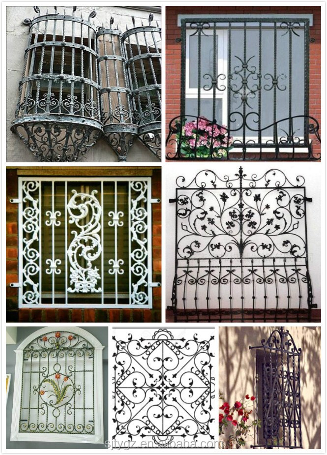 Modern wrought iron window grill design buy modern for Exterior window grill design