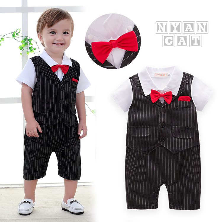 british style infant todder rompers stripe cotton wedding clothes handsome baby boys clothes climb