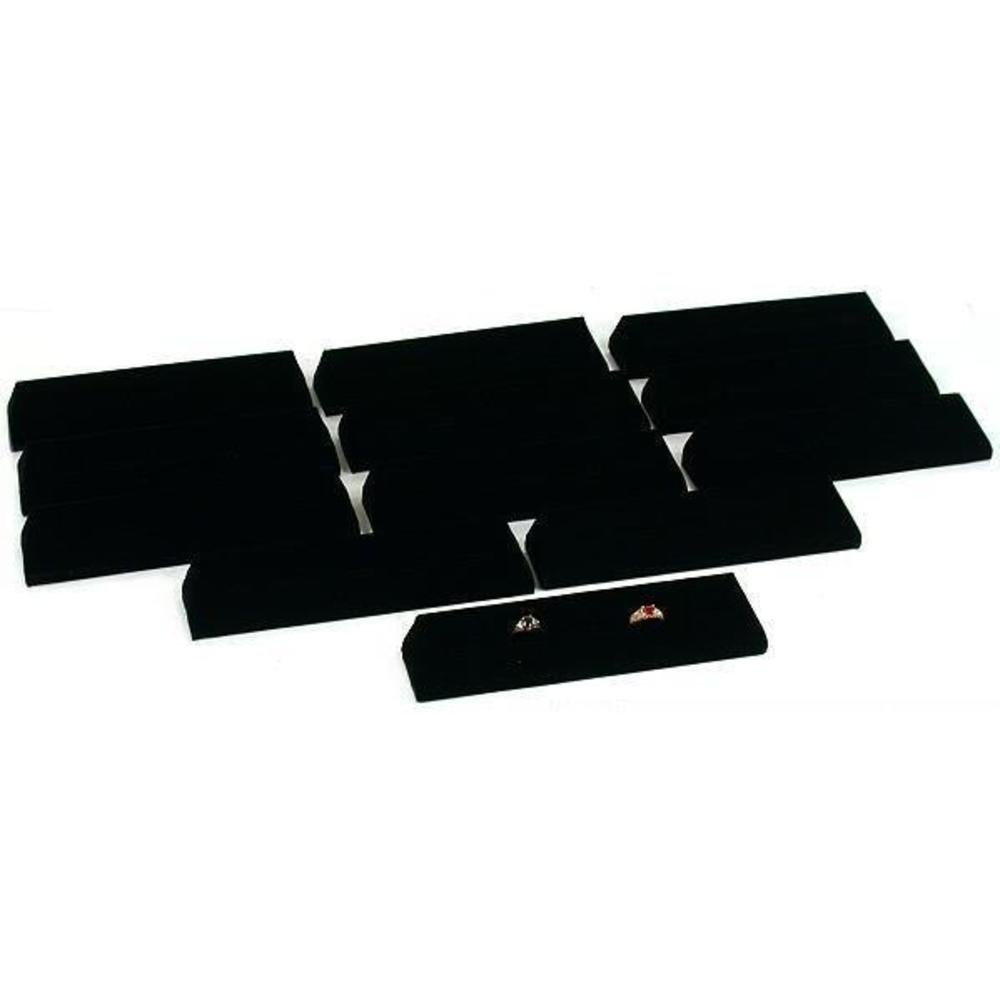 12 Black Velvet Ring Trays Jewelry Showcase Displays Stands