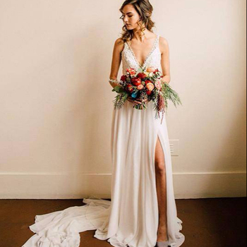 Zh3214g New Chiffon V Neck Country Style Bohemian Wedding Dresses Sexy Split Lace Appliques Pearls Long Boho Beach Bridal Gowns Buy Expensive Lace