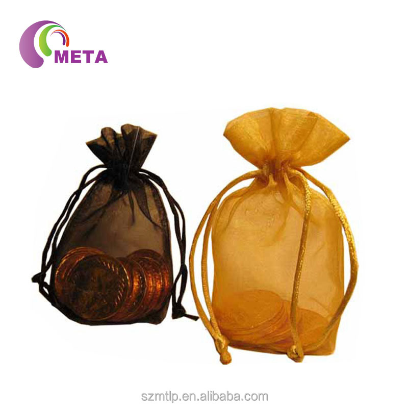China manufacturers personalized gold organza bags with tassel