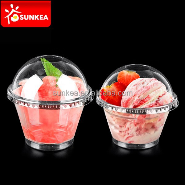 9oz clear plastic disposable ice cream cups with company logo