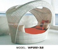 WF251-32 rattan beach day bed with canopy