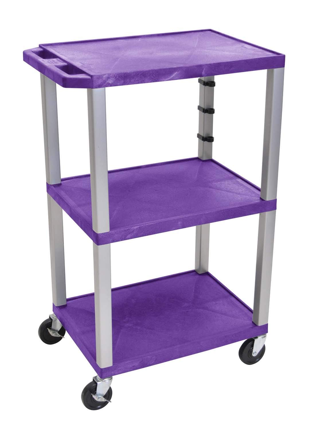 Offex clickhere2shop Mobile Multipurpose 3-Shelves Tuffy Cart, Purple with Nickel Legs (OF-WT42PE-N)