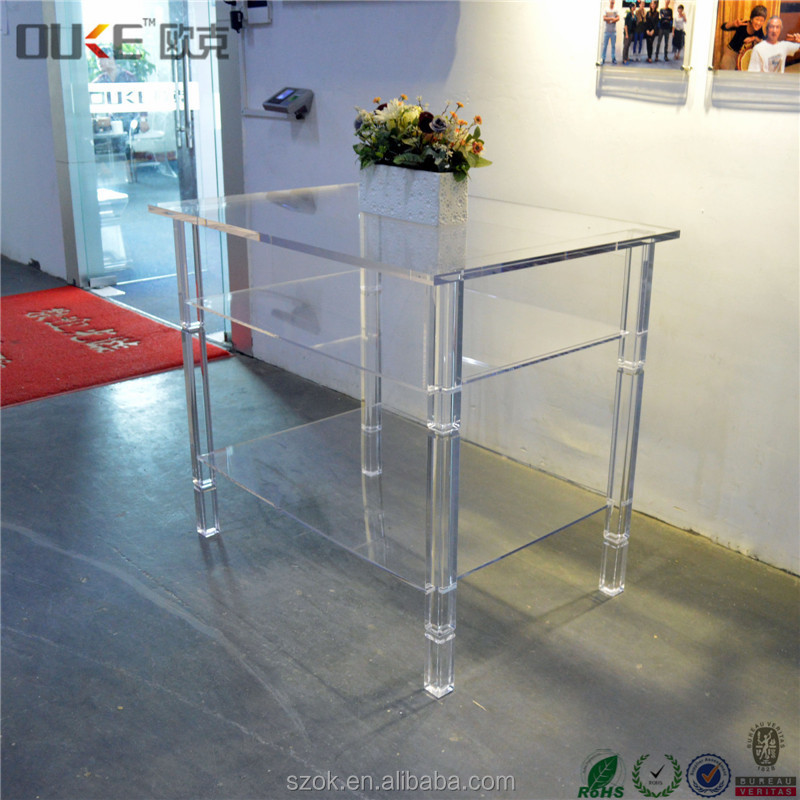 new desiign free standing transparent acrylic console table