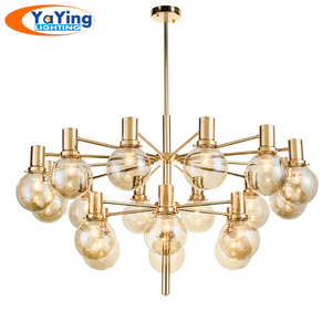YAYING lighting Nordic Modern Pendant Light Decorative Glass Ball Chandelier Light Artistic Gold Lamp