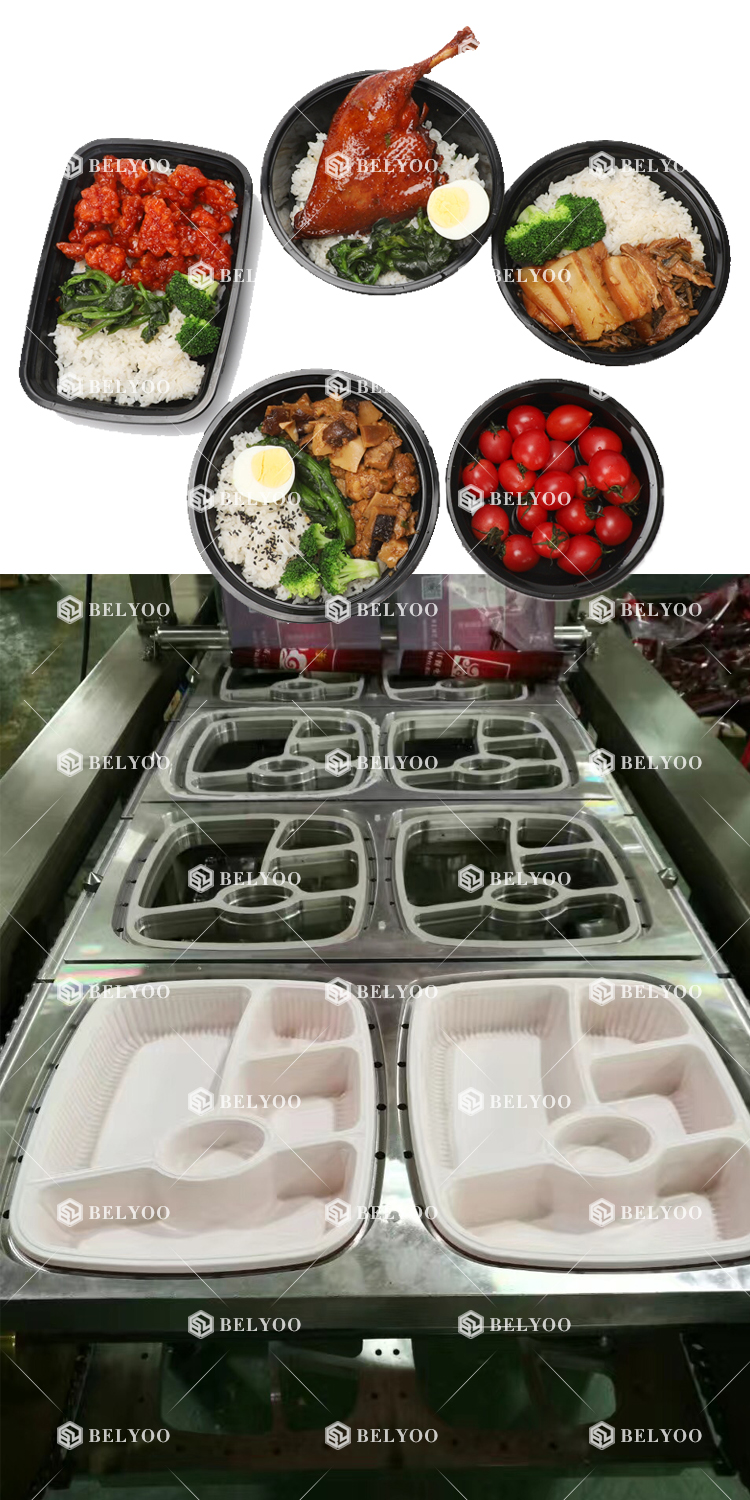 Belyoo Pp Trays Dinner Box Packaging Machine Meal Prep Tray Packaging Machine For Healthy Meal Prep Tray