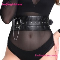 Black Studded O Ring Adjustable Magnetic Buckle Corset Belt