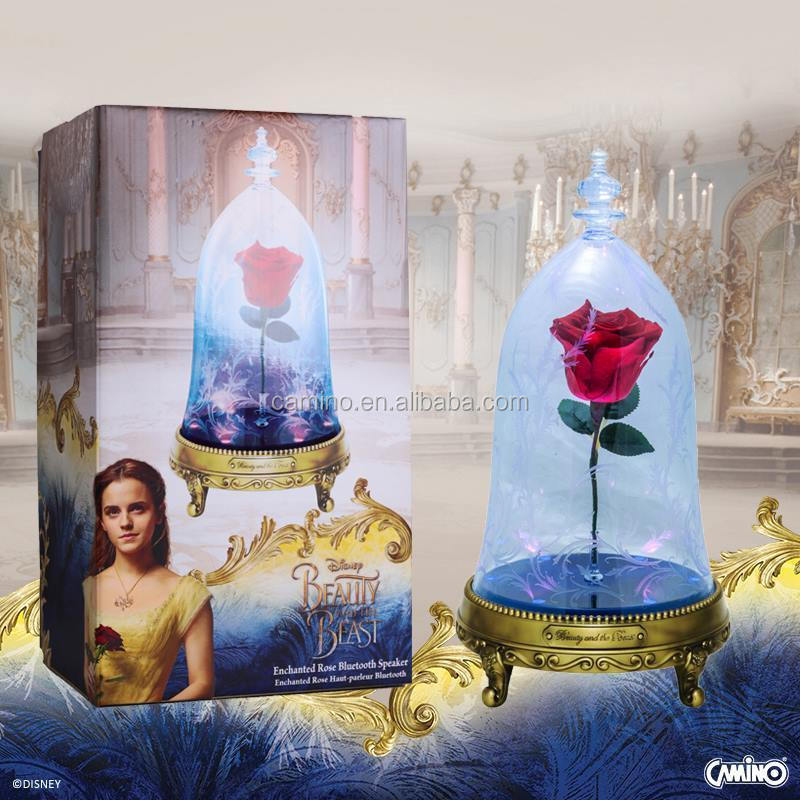 Camino Disney Beauty and The Beast Enchanted Rose Bluetooth Speaker LED Light