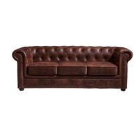 Classic Home Furniture Vintage Style 3 Seater Sleeping Couch Living Room Leather Chesterfield Sofa