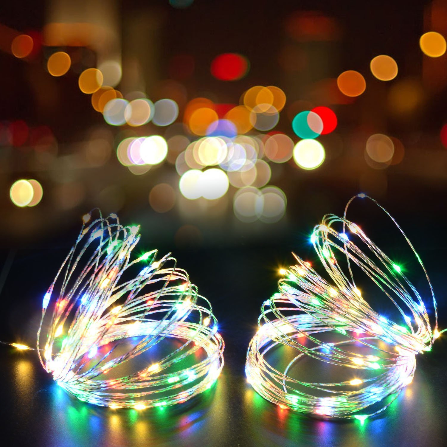 Juzihao 2 Sets 9.8ft 30 LEDs Multi Color Fairy LED Copper Wire String Lights, AA Battery Powered Décor Rope Lights For Seasonal Decorative Christmas Holiday, Wedding, Parties