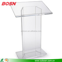 Modern design elevated clear acrylic lectern Perspex podium platform for speaker sale