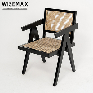Indoor New Solid Wood Simple Design Pierre Jeanneret Le Corbusier Chair Solid Wood Rattan Armchair Dining Chair For Sale