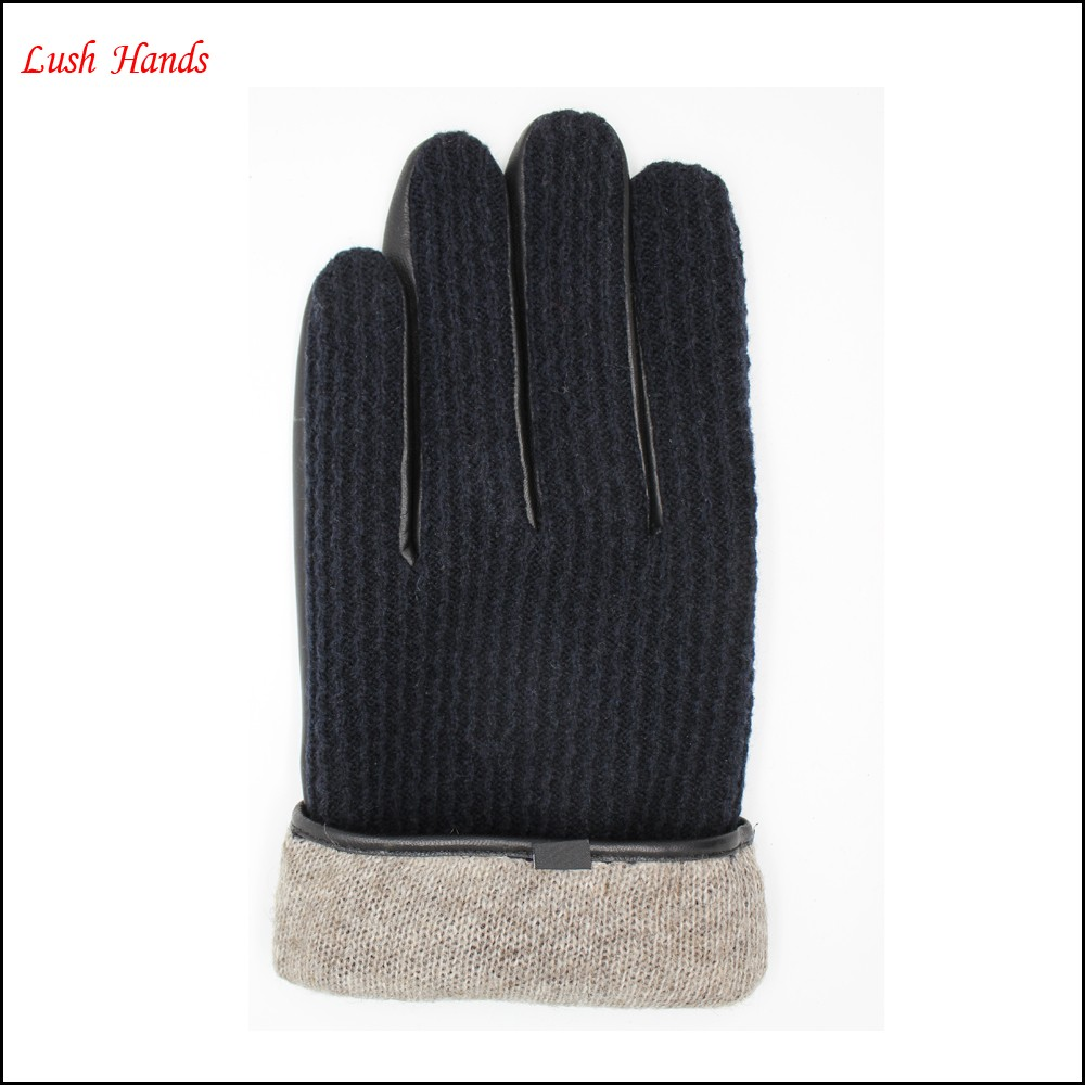 new style wolen fabric back leather gloves palm leather gloves for men with belt and button