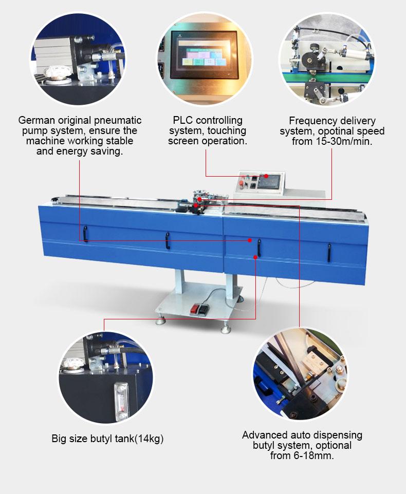 Doble máquina de procesamiento de vidrio butilo extrusora máquina de recubrimiento