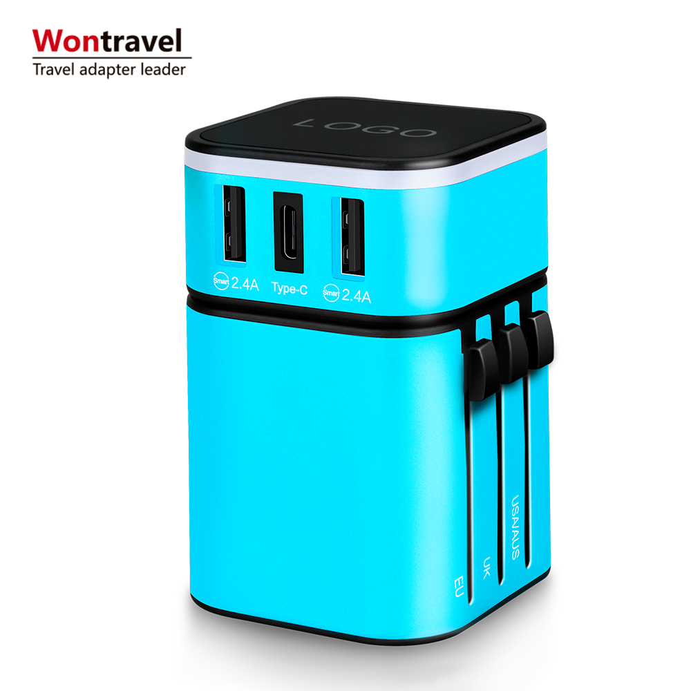 2019 Gadget Travel Adaptor Konversi Plug Tipe C USB Adapter dengan UK USA Euro Aus Plug Socket
