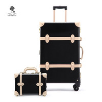 Luxury Black Pure Genuine Leather Travel Retro Rolling Luggage Carrying Bags Case Suitcase Luggage