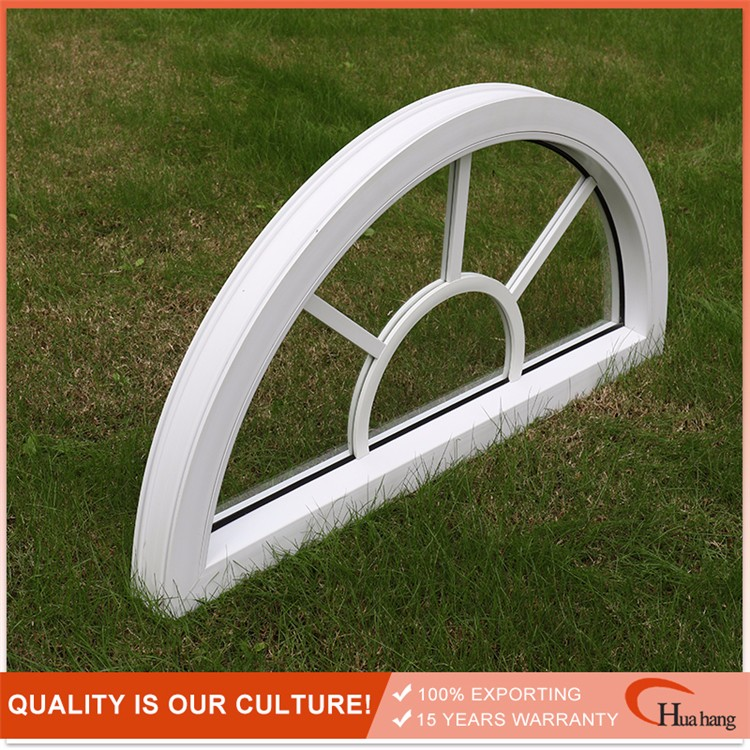 Hot selling PVC arch window with grilles designed, UPVC fixed arch windows