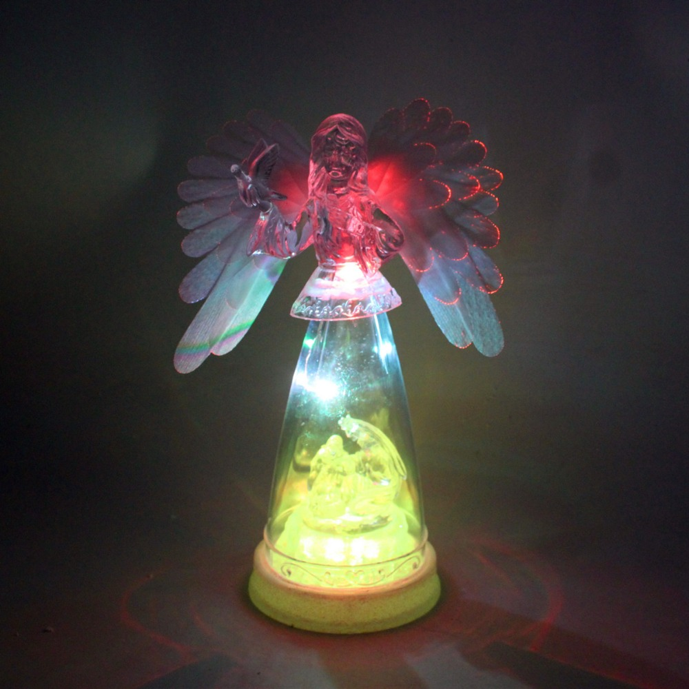 Led lighted acrylic angel optical fiber wing angel figurine
