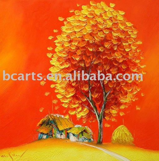Attractive abstract autumn season modern orange tree oil painting