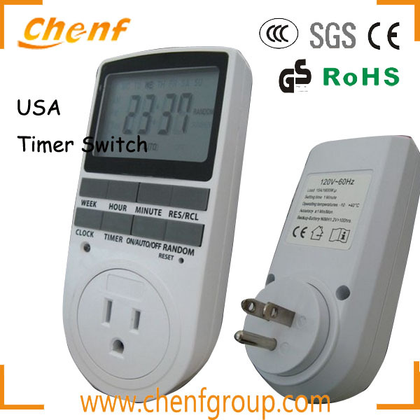 CE Approval LCD weekly programmable 120V Timer Switch Socket With USA Plug