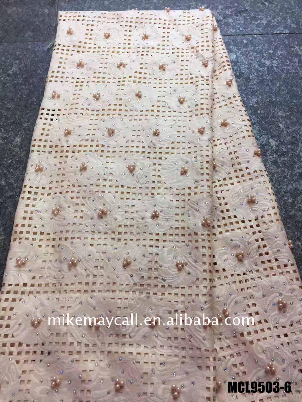 100% cotton beaded swiss laser cut lace with beads and stones in fabrics high quality hollow out cord