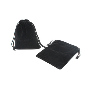 Promotional Black Velvet Drawstring Pouches Jewelry Gift Bags Custom Printed Pouch