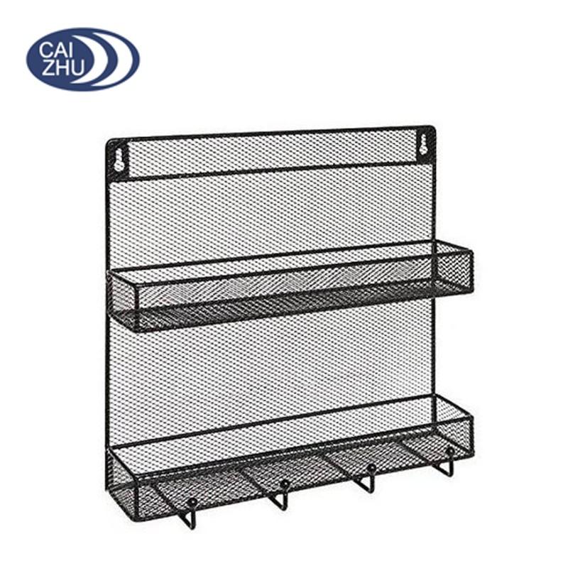 Wall Mounted Black Wire Mesh Metal 2 Shelf Multipurpose Spice ...