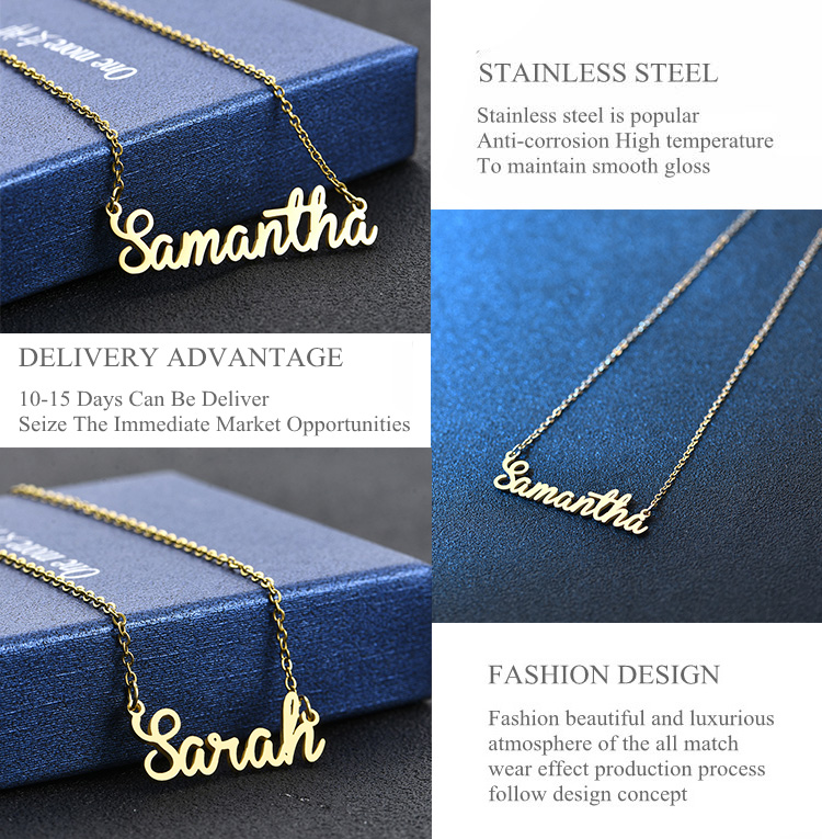 2019 Jewelry 3d Silver My Double Gold Plated Custom Stainless Steel Nameplate Initial Name Necklace Personalised